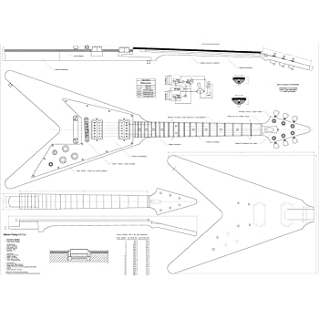 Set of 4 Electric Guitar Plans - Gibson Flying - V, Gibson Explorer, Gibson Les Paul, and Ibanez JEM777 - Full Scale - Actual Size- Making Guitar or Framing BUY ONLY FROM SPIRIT FLUTES -