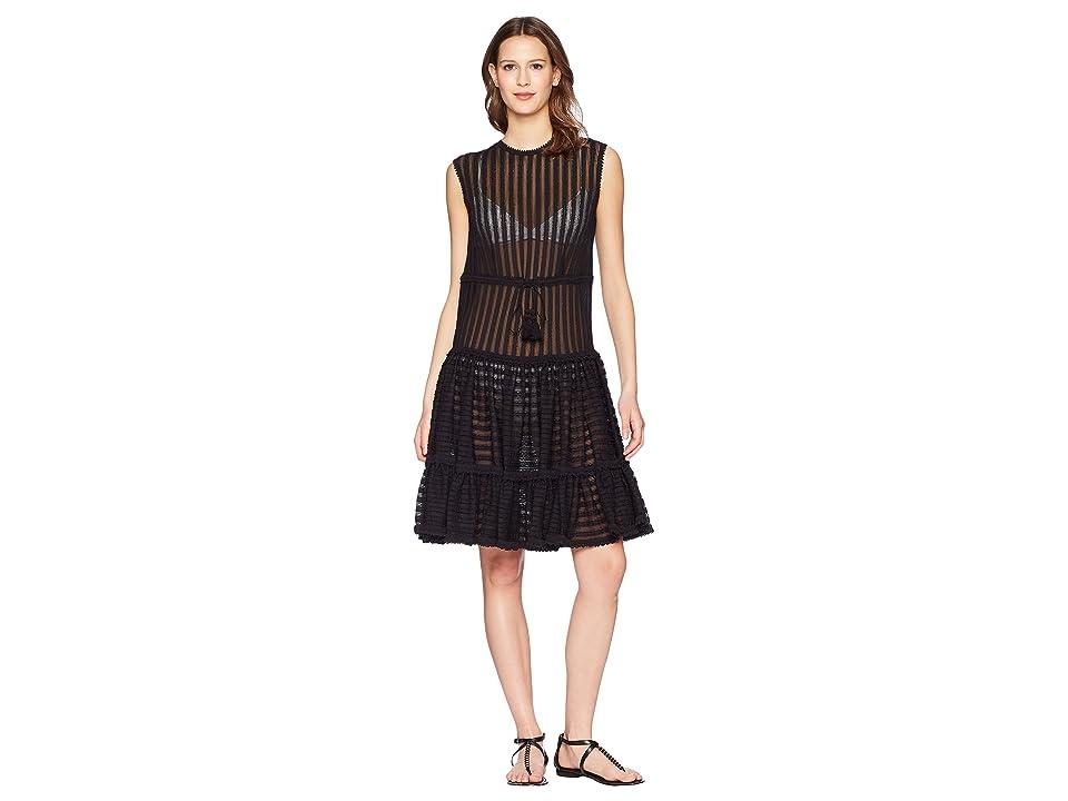 Jonathan Simkhai Knit Combo Crew Neck Ruffle Dress Cover-Up (Black) Women