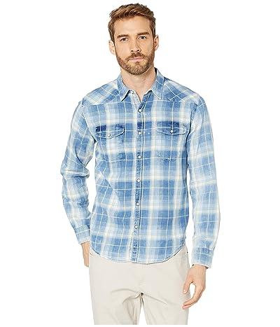 Lucky Brand Long Sleeve Plaid Western Shirt (Blue Plaid) Men