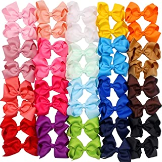 40 Pieces 4.5 Inch Hair Bows Clips Grosgrain Ribbon Boutique Hair Bow Alligator Clips For Girls Teens Toddlers Kids (20 Colors in Pairs)