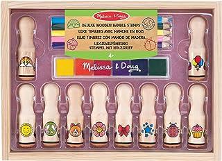 Melissa & Doug 12306 & Doug stämpel med trähandtag – lyxig version (16 delar)