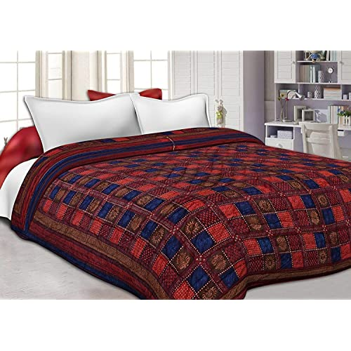 Cloud Mart Jaipuri Razai/Rajai Single Bed Cotton Rajasthani Sanganeri Floral Print Quilt Blanket (Red, 85x55 inches)