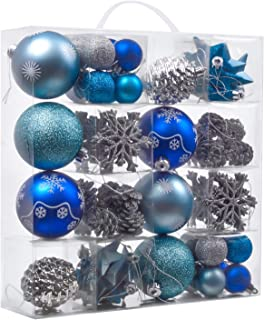 Valery Madelyn 70ct Winter Wishes Shatterproof Christmas Ball Ornaments Decoration Silver and Blue,1.57Inch-3.15Inch for Christmas Tree Decorations