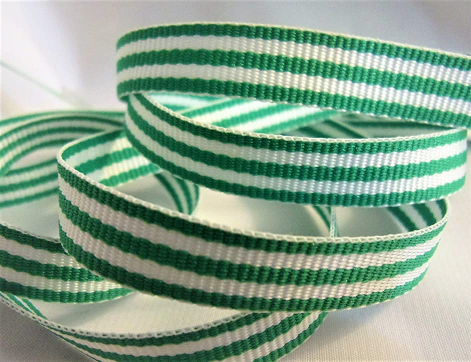 Grosgrain Ribbon - Emerald Green and White Stripes - 3/8