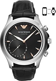 Emporio Armani Black Leather & Stainless Steel Hybrid Smartwatch ART3013