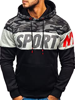 BOLF Hombre Sudadera Cerrada con Capucha Pulóver Liso Blusa Sweatshirt Hoodie Jersey Suéter Outdoor Deporte Impresión Entr...