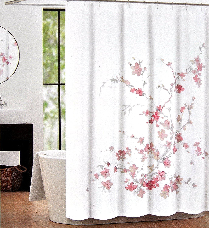 Tahari Home Luxurious Fabric Shower Curtain- Printemps Light Pink & Grey-72  X 72