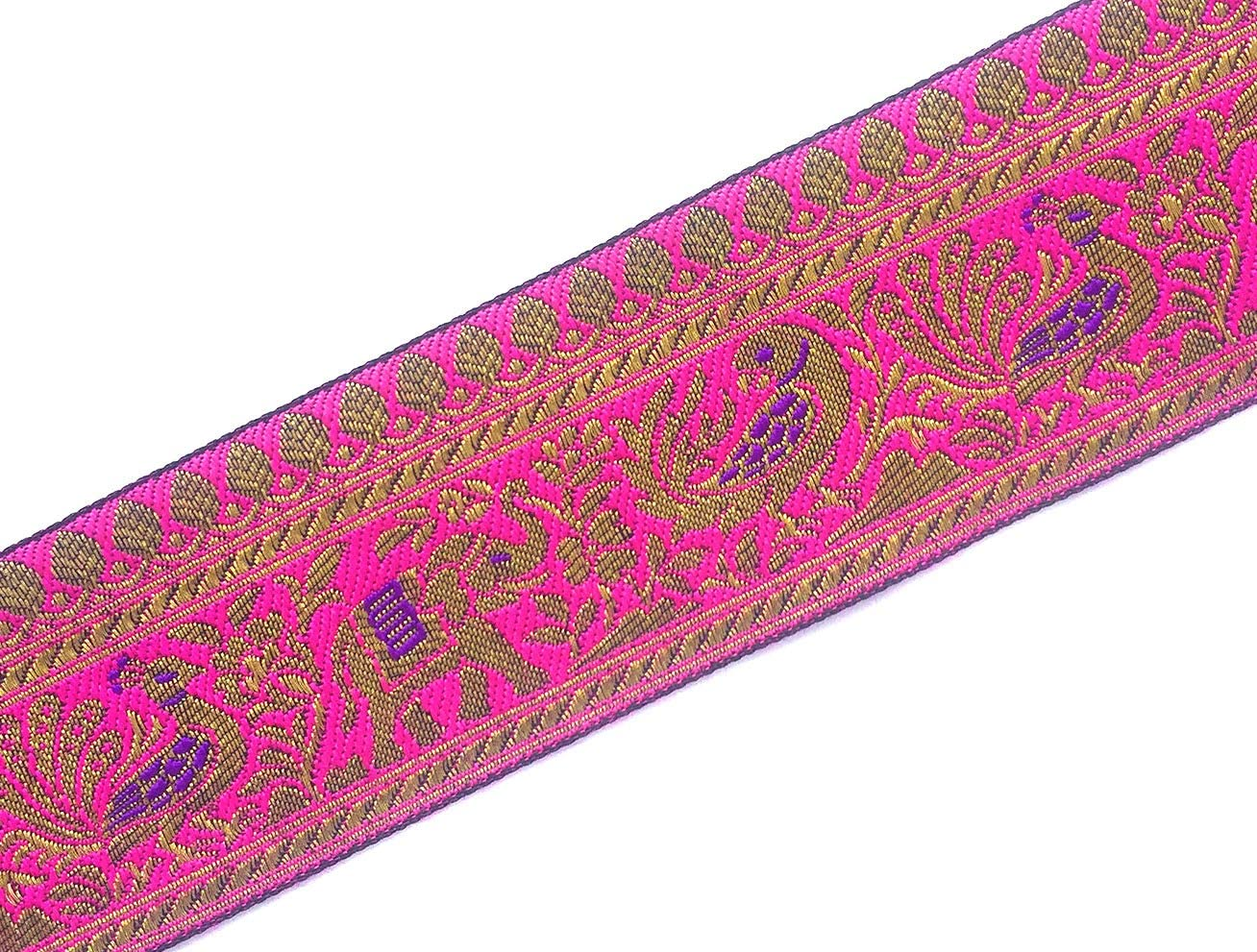 Brocade Ribbon in Black and Gold for Sewing Indian Jacquard Trim Animal Pattern 3 Yards by Craftbot