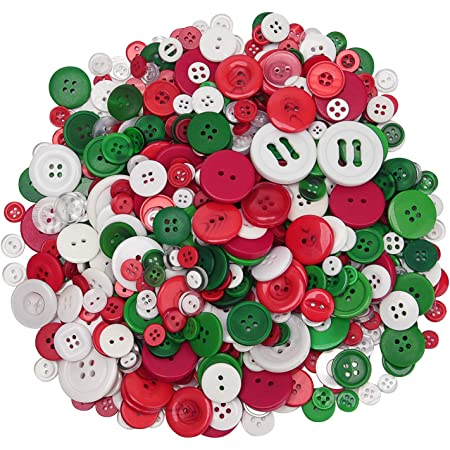 300 Pieces Christmas Wooden Buttons Wooden Christmas Tree Buttons White Snowflake Buttons Christmas Sewing Buttons Bulk with 2 Holes for DIY Christmas Sewing Crafts Scrapbooking Decoration