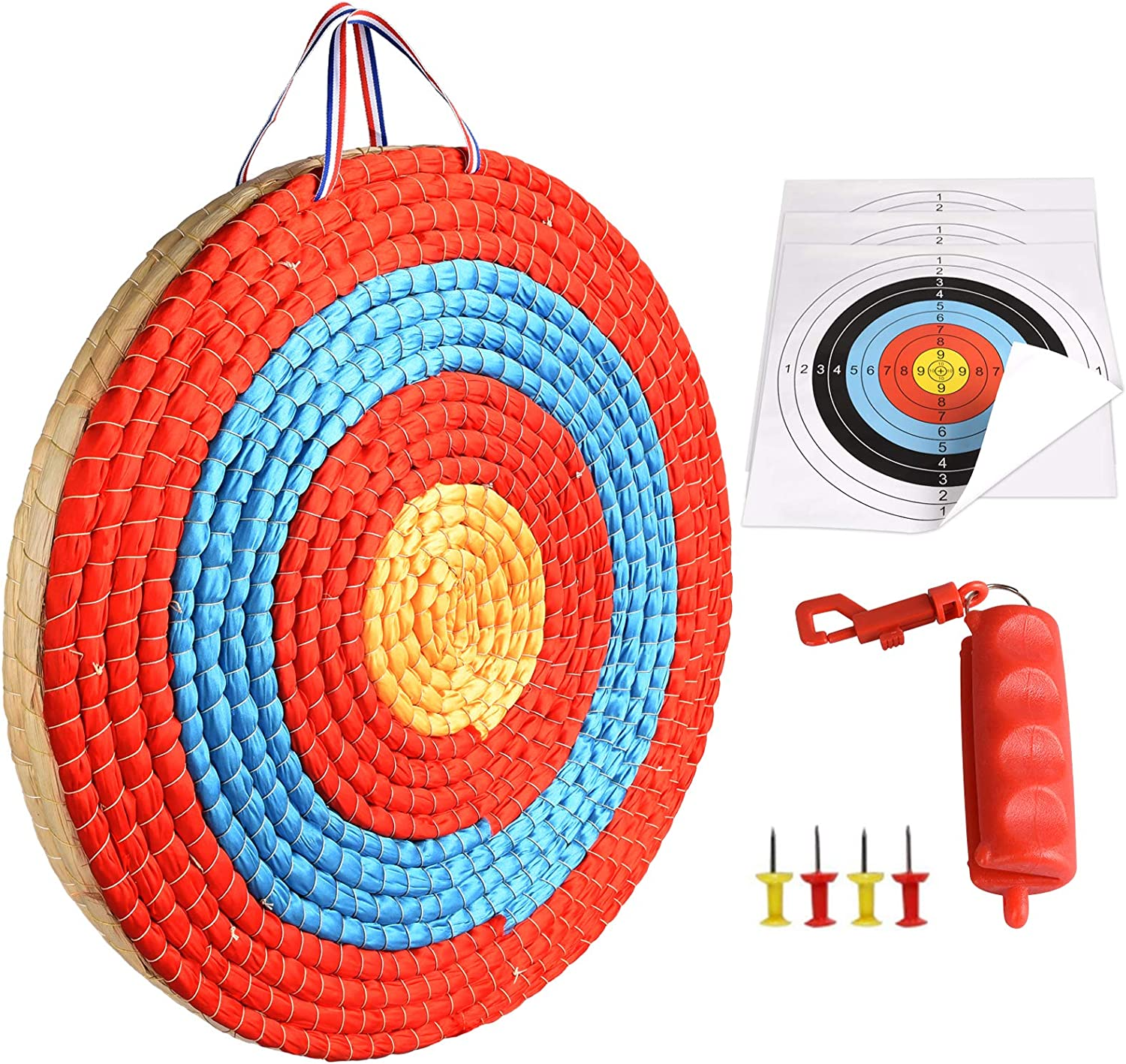 ALANGDUO 3 Layers 20 inch Archery Target Traditional Solid Straw Round Archery Target 2.3 inch Thickness Hand-Made Arrows Target for Outdoor Shooting Practice with 4 Paper Target Face : Sports & Outdoors