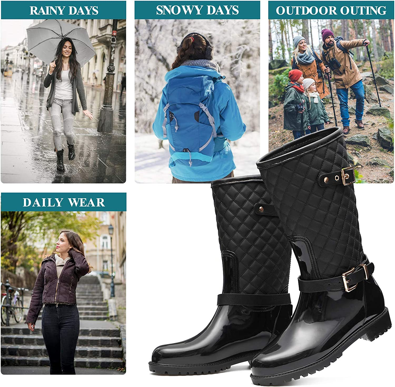 gracosy Botas de Lluvia Mujer Alta Goma Agua Botas al Aire Libre Moda Impermeable Lingge Zapatos de Jard/ín Wellington Boots Antideslizante Negro Azul