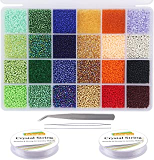 EuTengHao 14400pcs Glass Seed Beads Small Craft Beads Small Pony Beads for DIY Bracelet Necklaces Crafting Jewellery Makin...