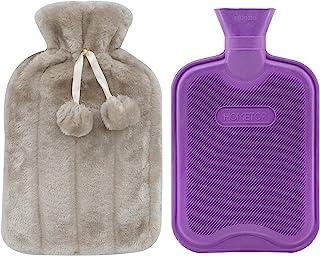 پلاستیک کلاسیک حق بیمه بطری آب داغ و لوکس مژه و ابرو پشم گوسفند وجانوران دیگر پوشش پشم پوم دکمه (بژ)