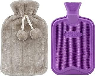 Premium Classic Rubber Hot Water Bottle and Luxurious Faux Fur Plush Fleece Cover w/Pom Pom Decor (Beige)