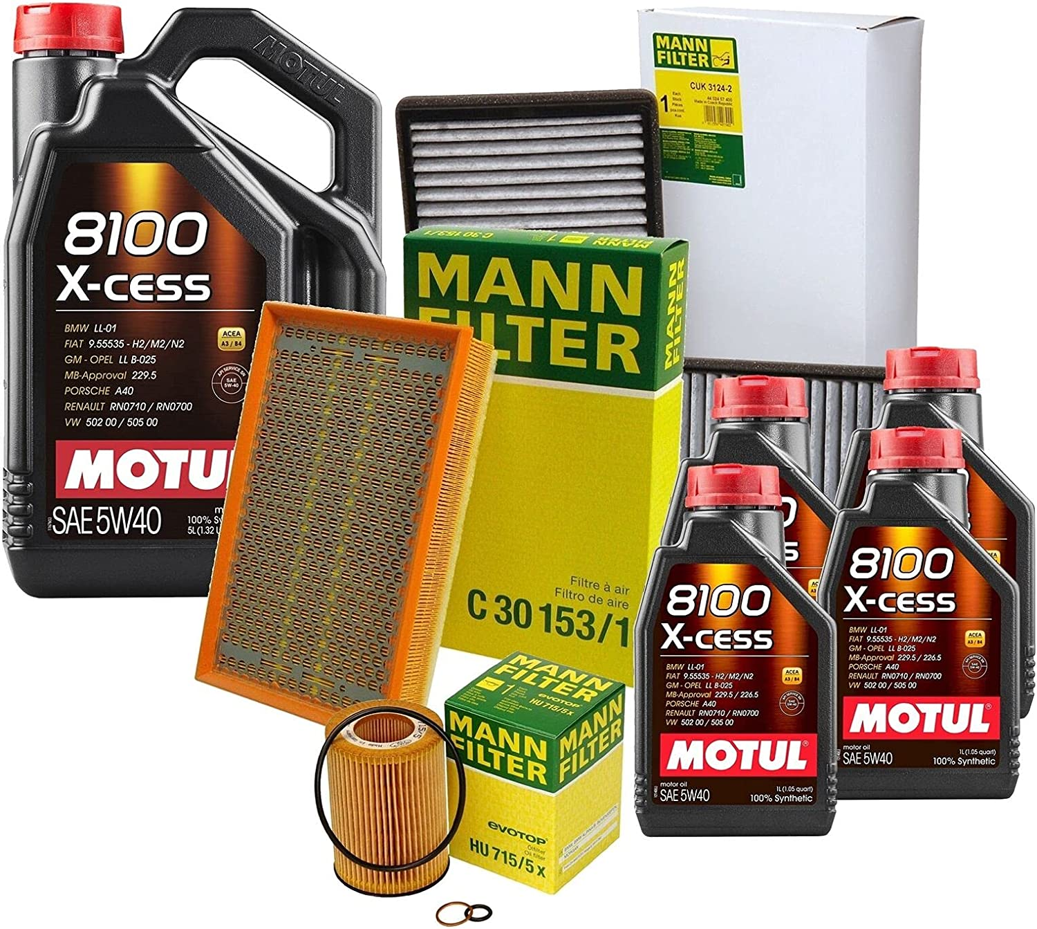 9L 8100 X-CESS Free Shipping Cheap Bargain Gift 5W40 Oil Filter Fort Worth Mall Compatible E kit BMW with Service