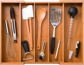 Bamboo Expandable 5 Large Compartment, 2 Adjustable, Utensil Cutlery Drawer Tray Organizer