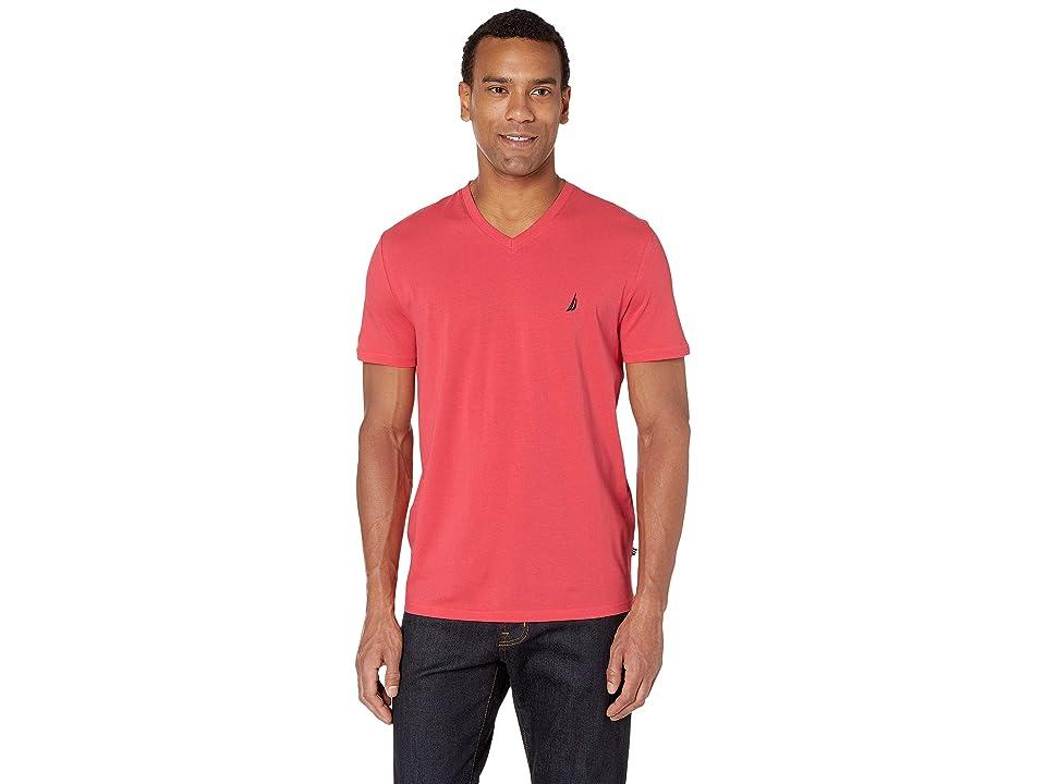 Nautica Short Sleeve Fashion Jersey V-Neck Tee (Melon Berry) Men