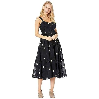 Free People Daisy Chain Midi Dress (Black Combo) Women