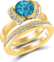 Created 1.50 Ct Round Cut Blue Topaz & White CZ Diamond Engagement Ring Bridal Set Genuine .925 Sterling Silver Plated / 14k Yellow Gold Plated