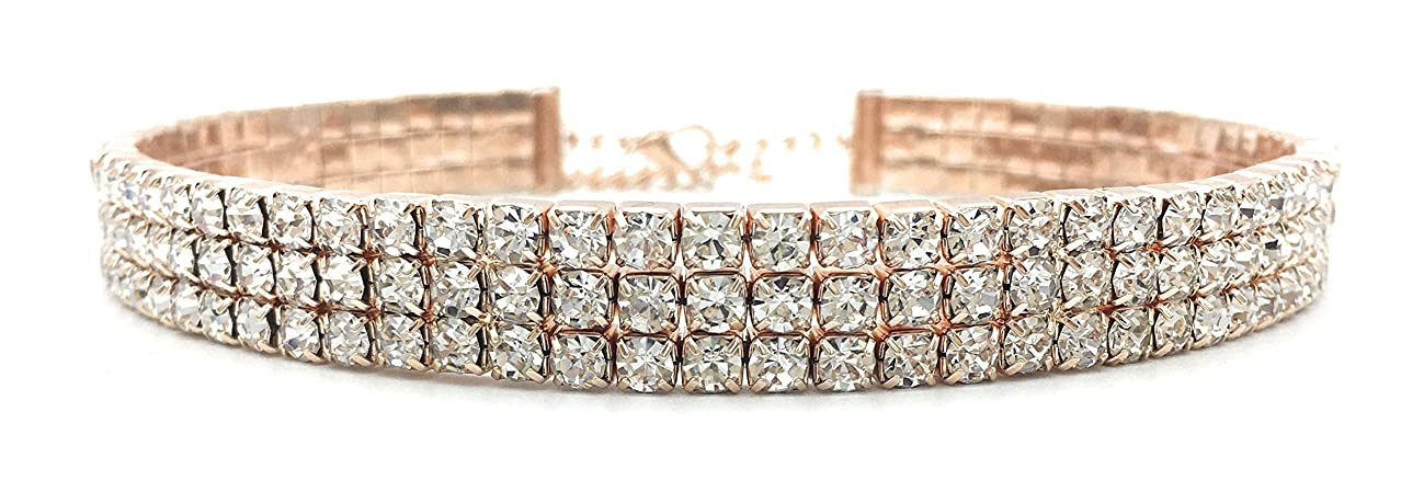 LuxeLife Rose Gold Rhinestone Choker 3 5 or 8 Row Women's Crystal Necklace Diamond Collar with 5