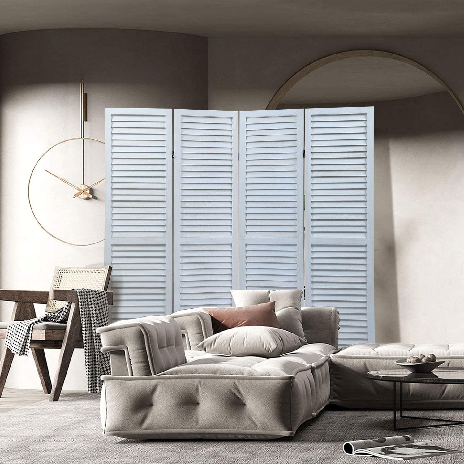 Genuine Free Shipping 4 Panel Branded goods Wood Louver Folding Divider Room Screen Parti Portable