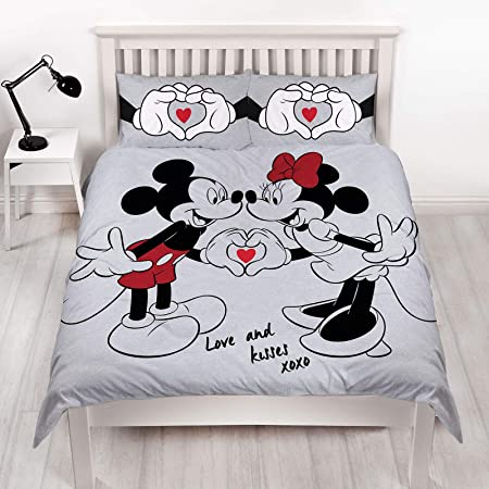 Disney Copripiumino Matrimoniale Reversibile Grigio Su Entrambi I Lati Con Federa Coordinata Tema Topolino Minnie Amazon It Casa E Cucina