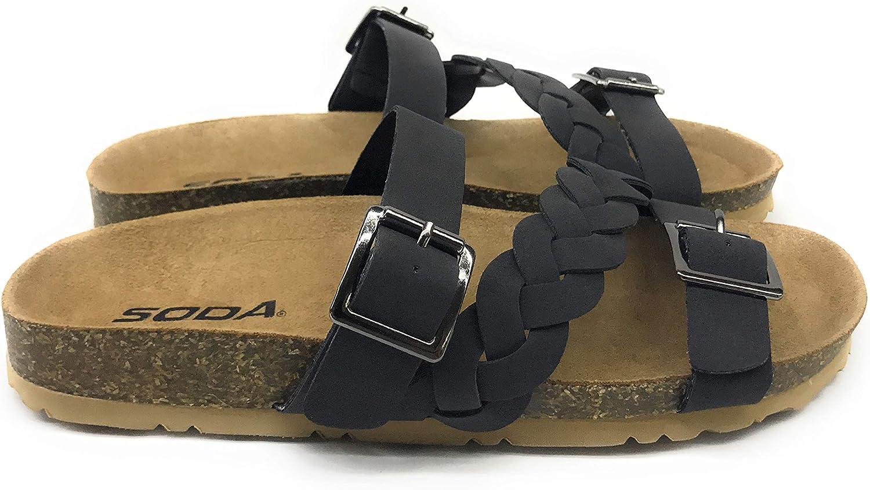 Soda Women's Buckle Strap Braided Cork Platform Slip On Sandal