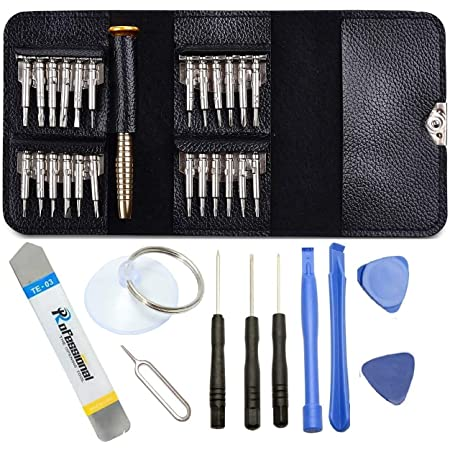 Techtest 25 in 1 Precision Screwdriver Set Multi Pocket Repair Tool Kit Torx Cell Phone Laptop Mini Electronic Opening for PC Camera Watch Universal Tablet Portable Wallet Repairing