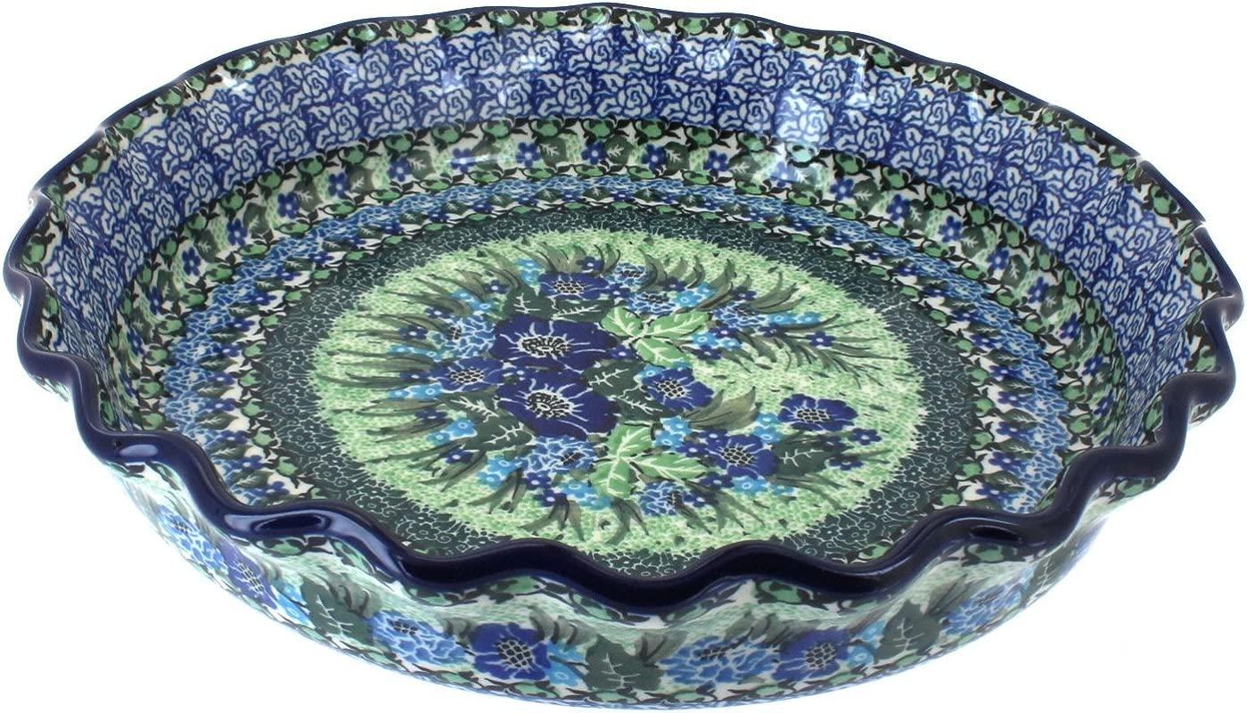 Polish Pottery Sapphire Fields Pie Plate