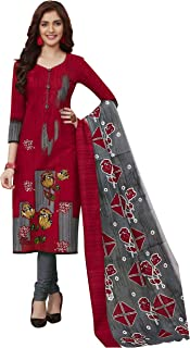 Miraan Women's Cotton Unstitched Dress Material (BAND1910; Red; Free Size)