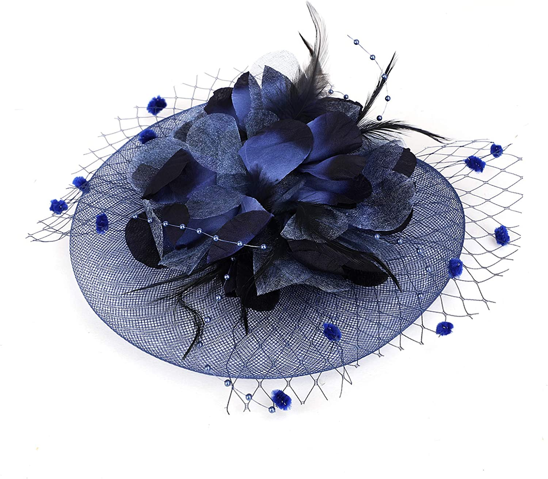 Luxury Flower Fascinator Mesh Feather on Headband Clip Tea Party Headwear Gift Women