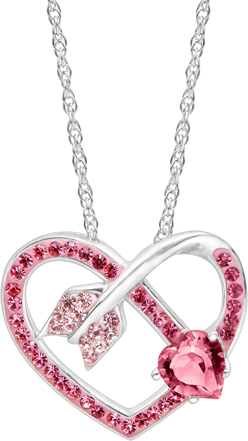 Bargain Crystaluxe Max 59% OFF Arrow Heart Pendant with Swarovski Rose Pink Crysta