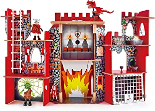 Hape Vikings Castle Dollhouse Play Set  Wooden Folding Dragon Castle Dollhouse with Magic Accessories, Glow in The Dark Spider Web, Dragon Egg and Action Figures