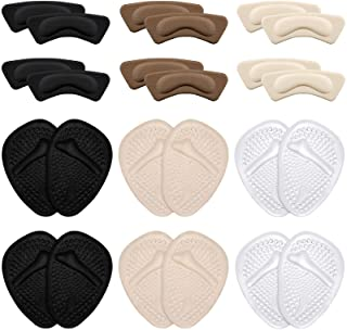 24 Pieces Shoes Pad Sets Include 12 Pieces Heel Grip Liner Inserts and 12 Pieces Metatarsal Pads, Ball of Foot Cushions fo...