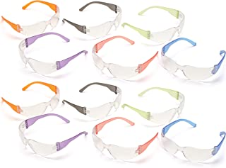 Pyramex S4110SMP Intruder Safety Glasses (12 Pack), Clear Lens with Assorted Temple..