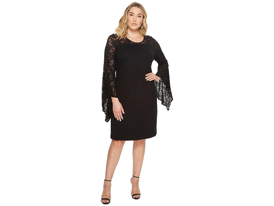 Vince Camuto Specialty Size Plus Size Handkerchief Lace Dress (Rich Black) Women