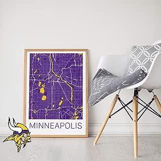 Minnesota Vikings Print - Minneapolis Minnesota Map Art Print
