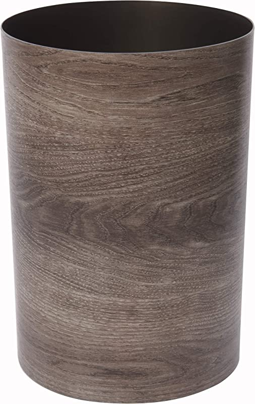 Umbra Treela Small Trash Can Durable Garbage Can Waste Basket For Bathroom Bedroom Office And More 4 5 Gallon Capacity With Stylish Barn Wood Exterior Finish