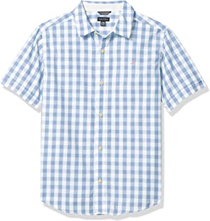 Nautica Boys' Short Sleeve Small Check Button Up Shirt