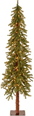National Tree Company lit Artificial Christmas Tree Includes Pre-strung White Lights and Stand, Hickory Cedar Slim-6 ft