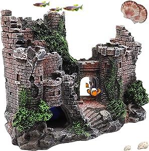 CREOMG Fish Tank Decorations, Multi Design Optional, Resin Aquarium Ornament, Creative Betta Fish Hide Cave for Aquarium Decorations Home Décor, Robot Dog, Wood House, Castle, Hobbit, Tonneau Or More