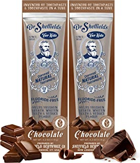Dr. Sheffield's Certified Natural Toothpaste (Chocolate) - Great Tasting, Fluoride Free Toothpaste/Freshen Your Breath, Whiten Your Teeth, Reduce Plaque (2-Pack)
