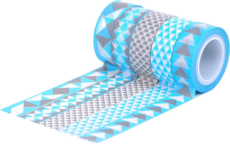 HIART Repositionable Washi Tape, Triangle Geos Sky Slate, Slate, Slate, Set of 5 by HIART B00H0ADFNC     | Moderate Kosten  5e4537