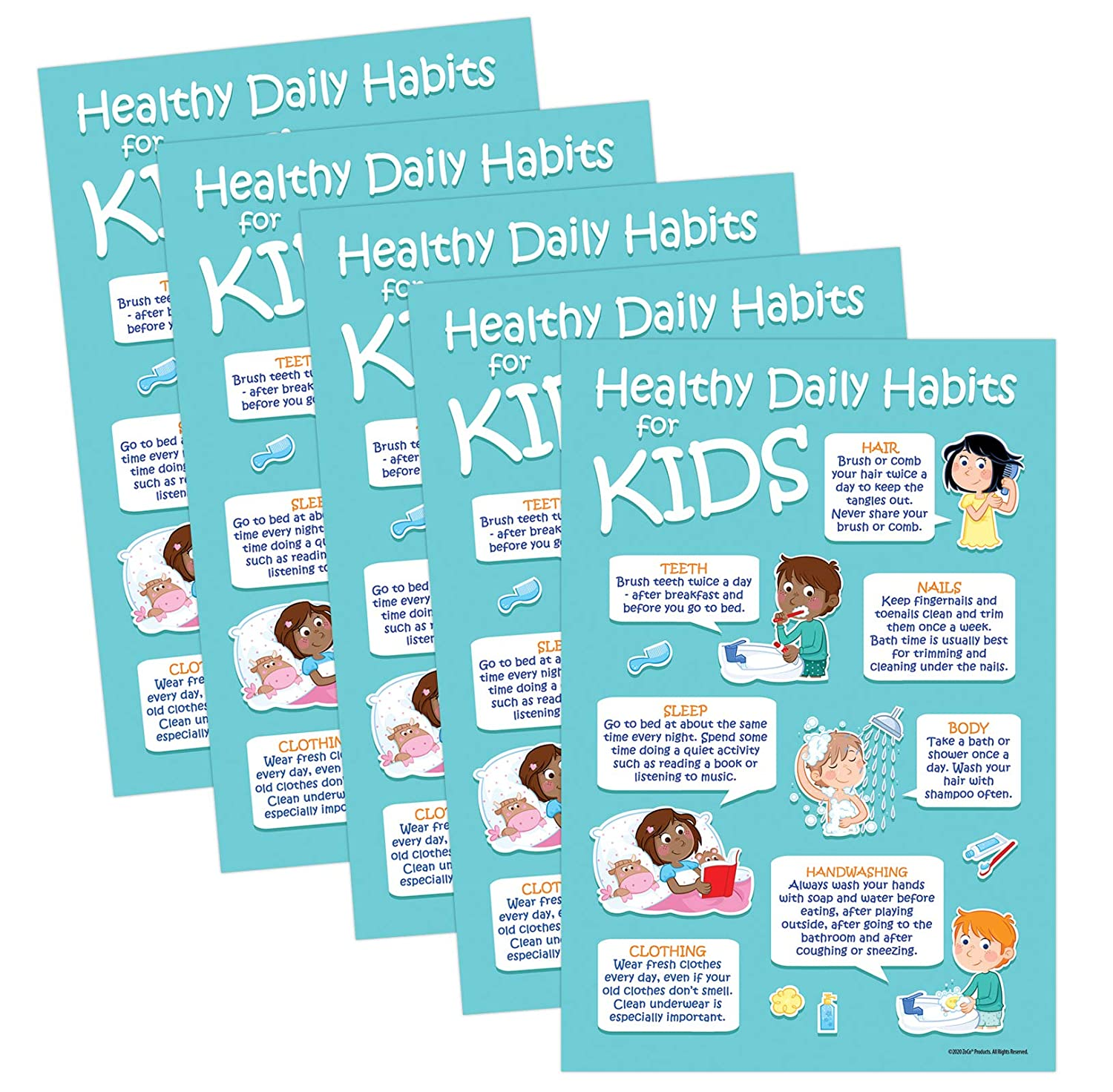 Kids 7 Healthy Daily 25% Popularity OFF Habits Posters Hygiene - 5 Pack Personal