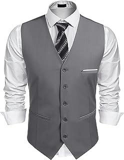 JINIDU Men's Classic Waistcoat Jacket Slim Fit Business Wedding Suit Vest