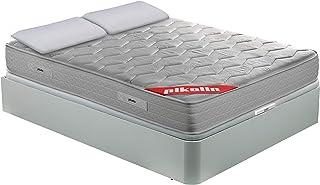 PIKOLIN Pack Colchón viscoelástico Espuma HR 135x190, canapé Base abatible Blanco y Dos Almohadas de Fibra, Incluye Subida...