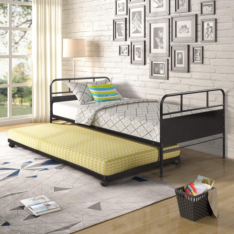 2021 model YSKWA Metal Daybed Platform Bed Cast Trundle with Genuine Frame Built-in