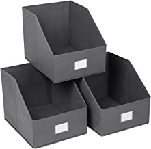 SONGMICS 3 Pack Open Storage Bins Foldable Trapezoid Storage Cubes Non-Woven Cloth Organizers with Label Holders for T-Shirts Sweaters etc, Grey UROB03GE