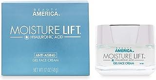Beauty America Moisture Lift, Anti-Aging Hyaluronic Acid, Day/Night, Face Gel Cream, 1.7 Oz, Off-White