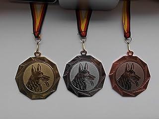 inkl 10 x Medaillen Medaillen-Band Emblem 25mm - Farbe: Gold Damen Kinder aus Metall 50mm Turnen Bodenturnen e219 mit Einem Emblem